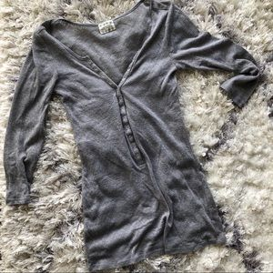 Free People Shimmer 3/4 Sleeve Henley